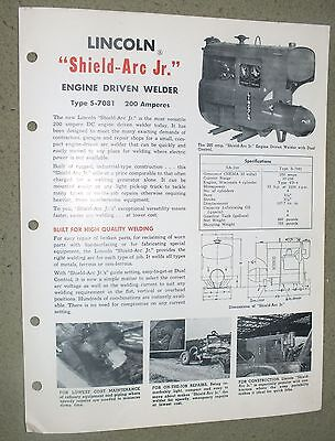 Lincoln Electric Shield Arc Jr S-7081 200 amps   Brochure Rare 1950 Welding