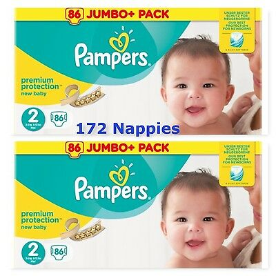 Pampers Premium Protection Baby Nappies Size 2 -  2 x Jumbo Pack 86 = 172