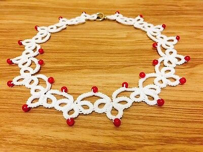 White Tatting Necklace Red Seed Beads Necklace, Handmade, Craft, Advance Tatting