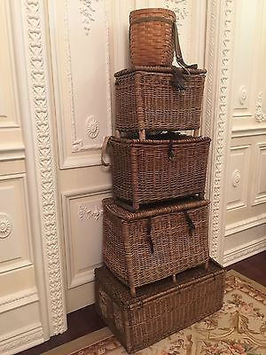 Antique Original English, England Fishing Creel Woven Basket, 1920 #2