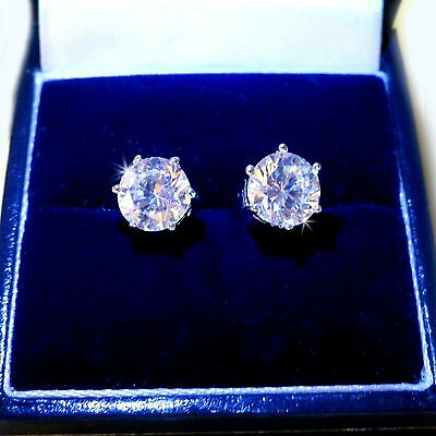 Mens Unisex White Gold Filled Cubic Zirconia 7.5 mm Stud Earrings, AA Quality/UK