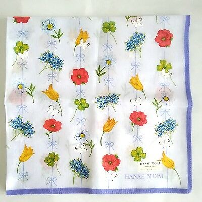 New Authentic HANAE MORI  butterfly handkerchief scarf 100% Cotton made in Japan