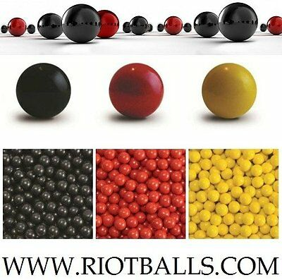 500 X 0.68 Cal. NYLON Balls Self Defense Less Lethal Practice Paintballs Black