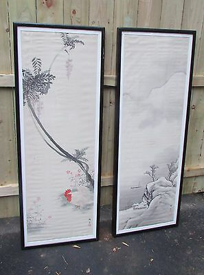Antique Japanese Painting on Silk with Rooster  2 pcs lot