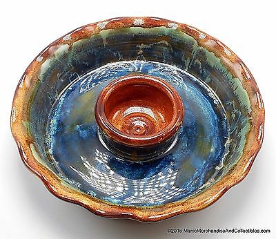 Southwest Studio Art Pottery Chip N Dip Bowl Drip Glaze Brown Turquoise Signed