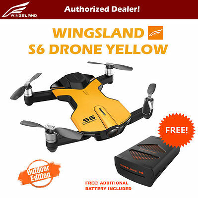 Wingsland S6 V2 Smart Pocket FPV Drone with Extra Battery 4K HD Camera Yellow