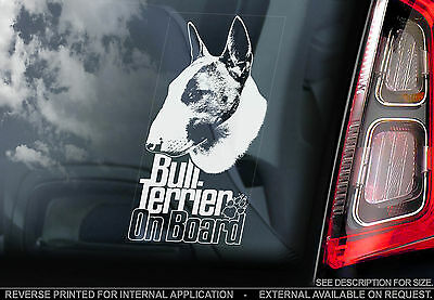 English Bull Terrier - Car Window Sticker - Dog on Board Brindle Sign Gift -TYP6