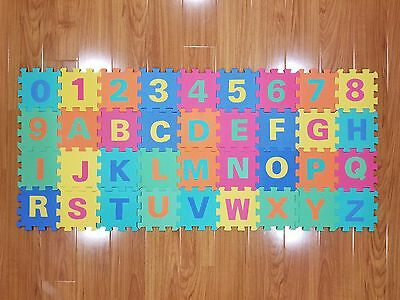 EVA Non-Toxic Foam 36 Piece Puzzle Baby Toddler Play Mat Numbers Alphabet 6 x 6