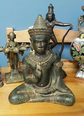 16th Century Authentic Heavy Bronze Cambodian Khmer Buddha Statue Museum Quality