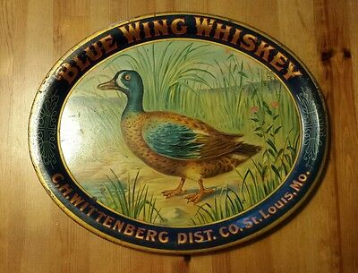 RARE Antique Pre-prohibition Blue Wing Whiskey Tray Wittenberg St. Louis MO