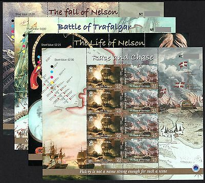 ISLE OF MAN 2005 Battle of Trafalgar: Complete Set of 4 Sheets UM/MNH
