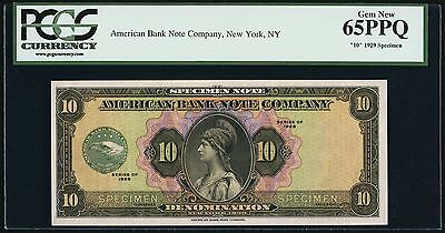 "American Bank Note Company ""10"" Unit SPECIMEN Series 1929 PCGS Gem New 65 PPQ"