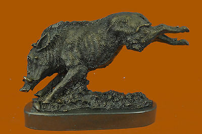 Signed Barye Wild Boar Jumping Bronze Marble Base Sculpture Figurine Statue Art
