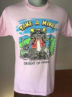 Vintage 80s DESERT OF MAINE T-Shirt SCREEN STARS Thin Medium TAKE A HIKE Racoon