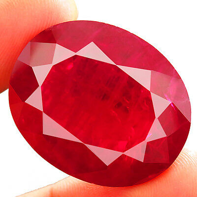 73.00ct BIG RARE Lab Created PIGEON BLOOD RUBY CHATHUM Induce Inclusion 24x28MM
