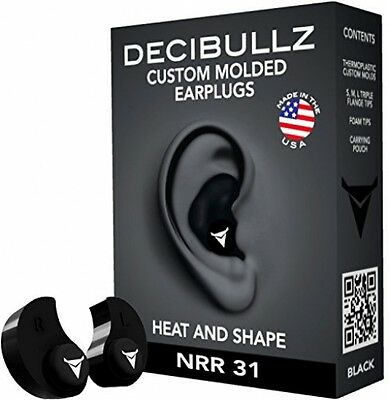 Decibullz Custom Moulded Earplugs: One Size Fits All, Travel, Safety, Work