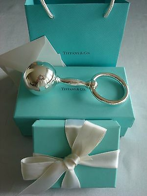 TIFFANY sterling silver ~ NEW ~ LARGE BABY RATTLE BARBELL RING ~ pouch,box,card