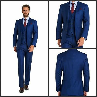 Men;s Blue Wedding Suits 3 Piece Groom Man Best Man Formal Tuxedos Party Blazers
