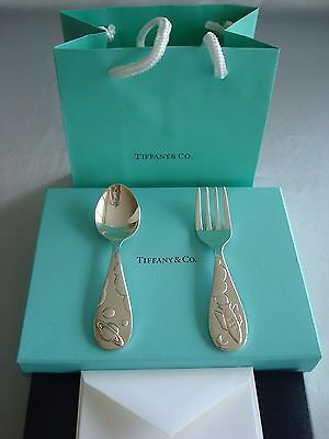 TIFFANY sterling silver ~ NEW ~ BABY SPOON FORK SET SPACE ROCKET ~ box,card,bag