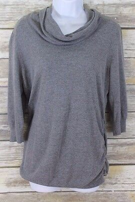 Motherhood Maternity Large Sweater Women's Cowl Neck 3/4 Sleeve Gray Top