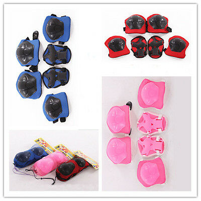 Kids Children 6pcs Roller Skating Knee Elbow Wrist Protective Pad Gear gift QW