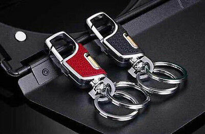 High-grade Alloy Metal Buckle Belt Clip Keychain Keyring Key Chain Double Ring