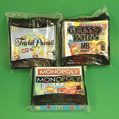 Full Set 3 McDonalds Happy Meal Toys 2009 Mini Travel Board Games Unopened BNIP