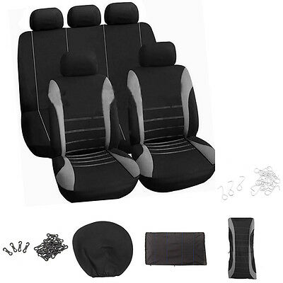 Universal Car Auto SUV Seat Cover Protectors Front Back Full Set Washable Black