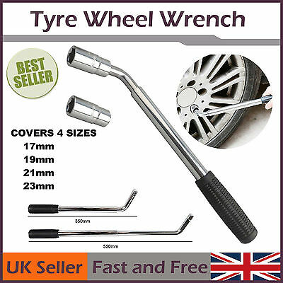 17 19 21 & 23mm Extendable Wheel Telescopic Car Van Brace Socket Tyre Nut Wrench