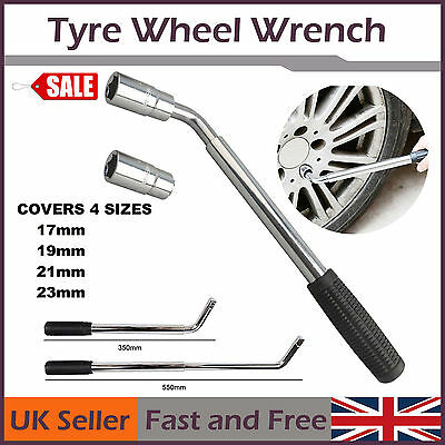 Vehicle Parts 17 19 21 23mm HEAVY DUTY Extendable Wheel Tyre Nut Wrench Tool Kit