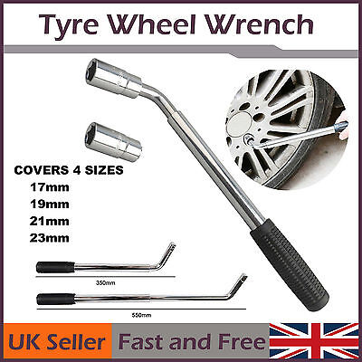 Hand Tool 17 19 21 23mm HEAVY DUTY Extendable Wheel Brace Socket Tyre Nut Wrench