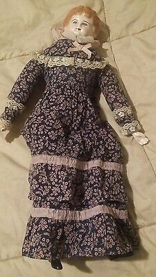 """Bisque China head vintage Doll/ stuffed body 16"""""""