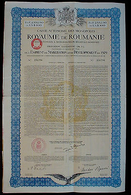 Romania Gold Obligation 7% Or Francs 2,552,90 = 100 US 1929 uncancelled coupons