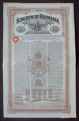 Kingdom of Romania 7% 100 P. Sterling Gold 1922 uncancelled + coupons