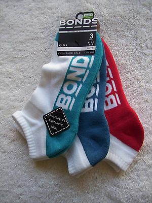 BNWT Boy's Bonds 3 Pack Low Cut Socks Shoe Size 3-8 10+ Years