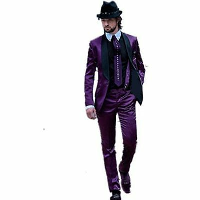 Purple Fashion Wedding Suits 2-piece Men's Formal Evening Tuxedos Groom Blazers