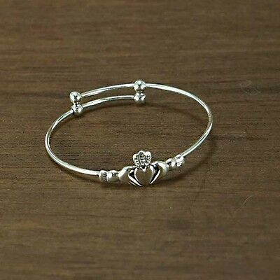 Irish CLADDAGH Sterling Silver Baby Child Expanding Babies Bangle Christening