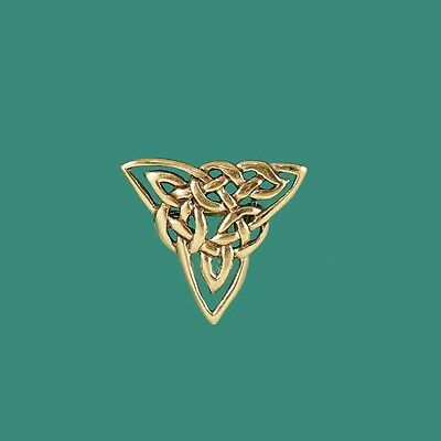 Celtic Triquetra Trinity Gold Knotwork Brooch Pin for Tie Hat Scarf Jacket