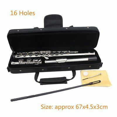 New 16 Closed Holes C Key Tone Flute with Case Cloth Screwdriver SA