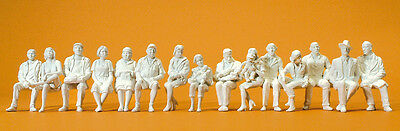 Preiser 63001 Seated Passengers, 15 UNPAINTED FIGURES, 1 Gauge