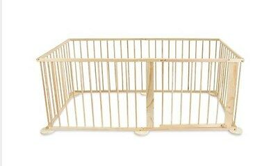 New Baby Playpen Natural 6 Sided Wooden Kids Child Safety Playtime Rubber Feet