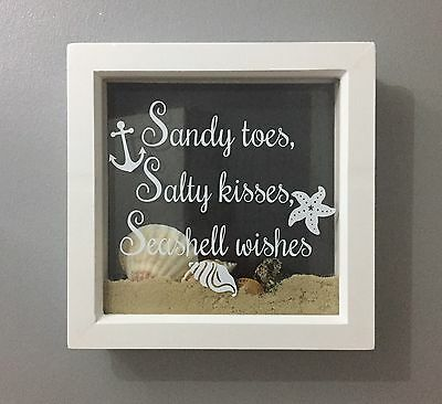 Sandy Toes Salty Kisses Beach Nautical Decal vinyl sticker Ikea Box Ribba Frame