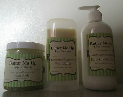 Butter Me Up Soap Company 100% Natural-Hand & Body Lotion, Foot Butter and Soak