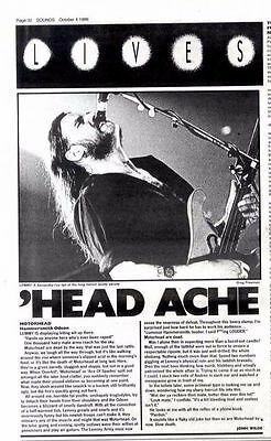 4/10/86pg32 Live Review, Motorhead Ath Hammersmith Odeon