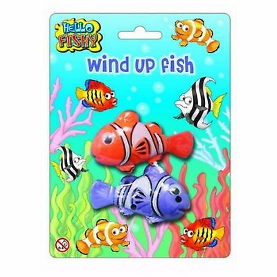 2 Pack Wind Up Clockwork Clown Fish Tail Kids Toy Party Filler Toy Fishing Fun