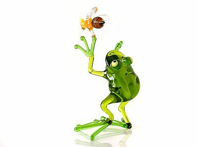 "Frog Figurine, Blown Glass Handmade ""Murano"" Art Animal Collectible Miniature"