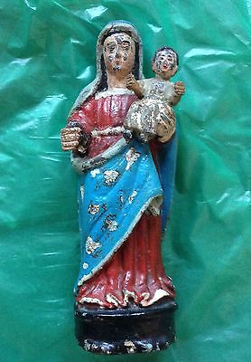 Indo Portuguese Large Carved Statue of Mary  with The Child Jesus 19th century