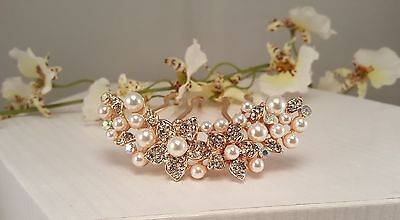 Bridal Rose Gold Faux Pearls Austrian Crystals Hair Comb