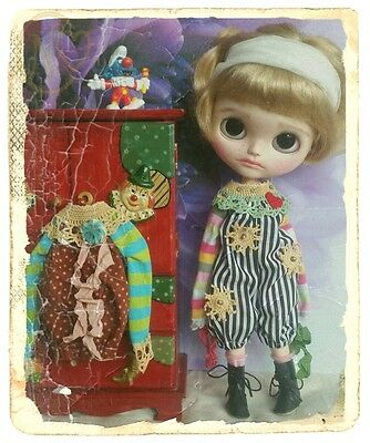 Antique dungarees for 12inch  Blythe doll*  crocheted collar*  please select*