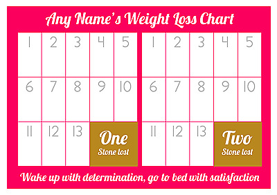 Personalised Weight Loss Chart - 2 stone - Laminated - with 1 x sheet stickers